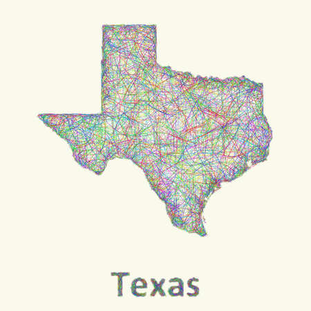 tx: Texas line art map from colorful curved lines