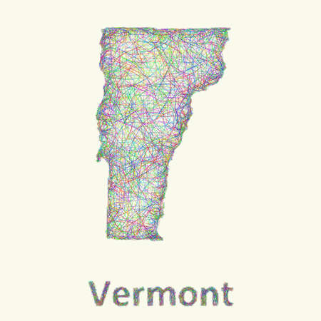 curved lines: Vermont line art map from colorful curved lines Illustration