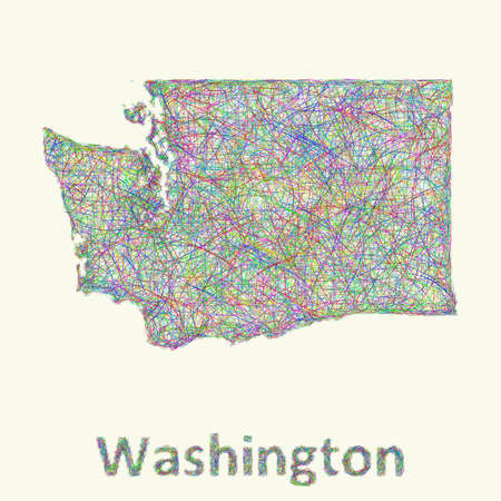 curved lines: Washington line art map from colorful curved lines