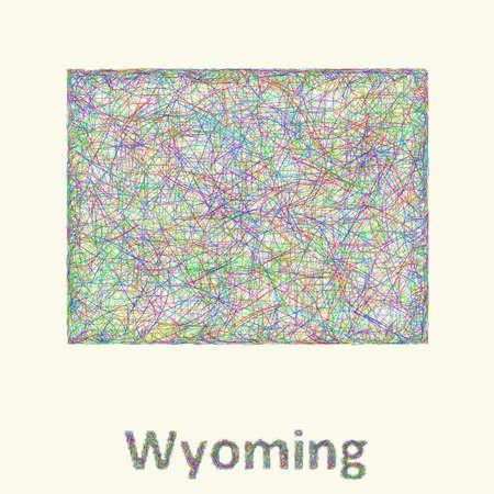 와이오밍 라인 아트지도 다채로운 곡선에서