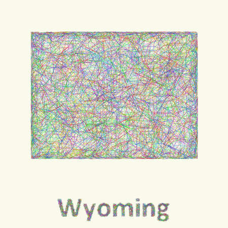 cheyenne: Wyoming line art map from colorful curved lines