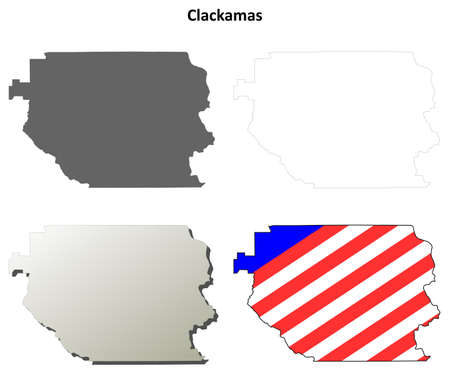 county: Clackamas County, Oregon blank outline map set
