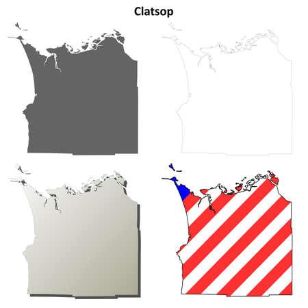 oregon coast: Clatsop County, Oregon blank outline map set