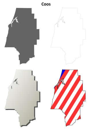 Coos County, Oregon leeg overzichtskaart set