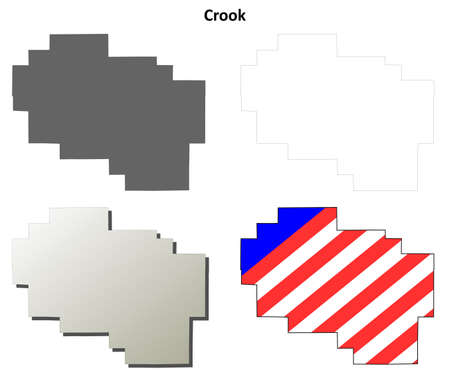 crook: Crook County, Oregon blank outline map set