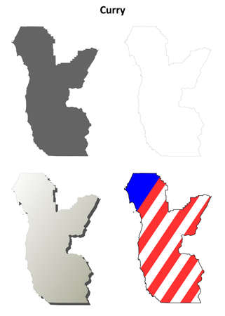 oregon: Curry County, Oregon blank outline map set Illustration