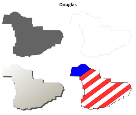 oregon coast: Douglas County, Oregon blank outline map set