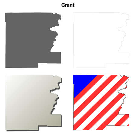 grant: Grant County, Oregon blank outline map set