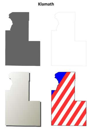 klamath: Klamath County, Oregon blank outline map set