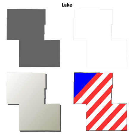oregon: Lake County, Oregon blank outline map set