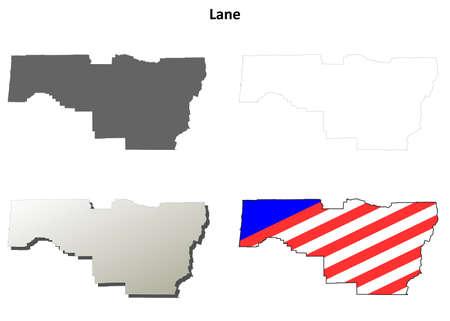oregon coast: Lane County, Oregon blank outline map set