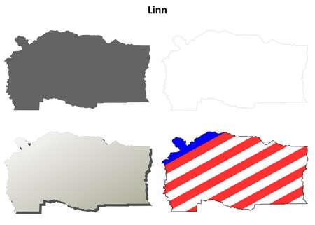 county: Linn County, Oregon blank outline map set Illustration