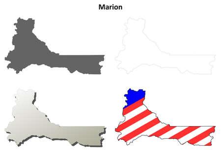 marion: Marion County, Oregon blank outline map set Illustration