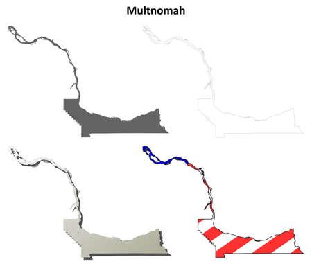 county: Multnomah County, Oregon blank outline map set Illustration