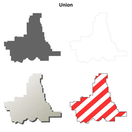 county: Union County, Oregon blank outline map set Illustration