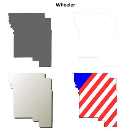 wheeler: Wheeler County, Oregon blank outline map set