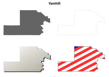 county: Yamhill County, Oregon blank outline map set Illustration