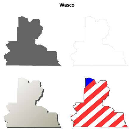 oregon: Wasco County, Oregon blank outline map set
