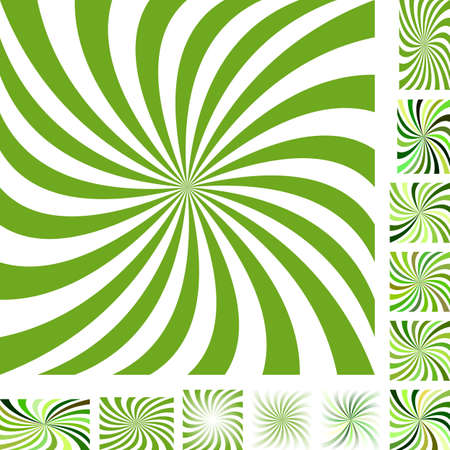 hypnose: Green and white vector spiral design background set. Different color, gradient, screen, paper size versions.