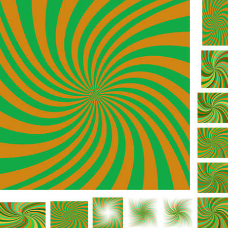 hypnose: Orange and green vector spiral design background set. Different color, gradient, screen, paper size versions.