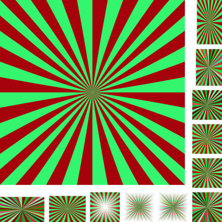 starburst: Red and green vector ray burst design background set. Different color, gradient, screen, paper size versions.