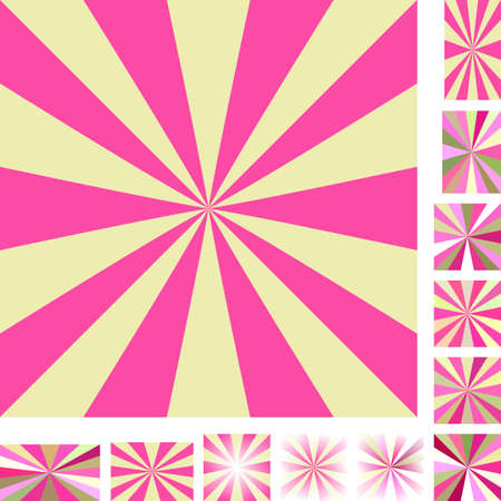 hypnose: Pink and yellow vector ray burst design background set. Different color, gradient, screen, paper size versions.