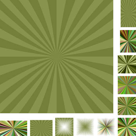 moss: Green vector ray burst design background set. Different color, gradient, screen, paper size versions.
