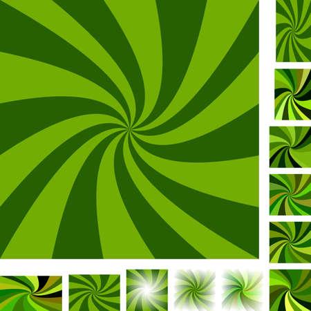 hypnose: Green vector spiral design background set. Different color, gradient, screen, paper size versions. Illustration