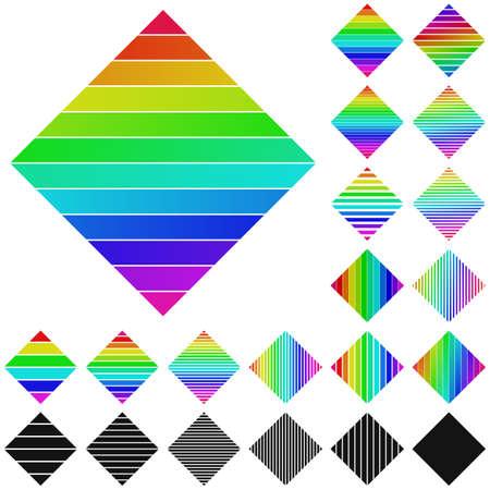 diagonal  square: Set of rainbow diagonal square logo icon designs Illustration