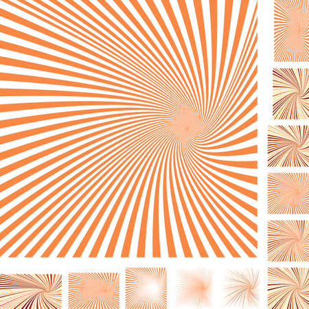 hypnose: Orange and white vector spiral design background set. Different color, gradient, screen, paper size versions.