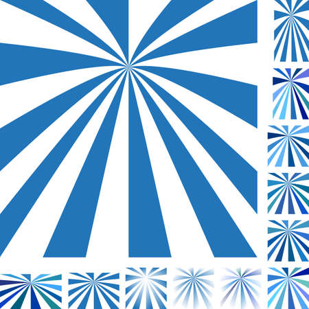 hypnose: Blue and white vector ray burst design background set. Different color, gradient, screen, paper size versions. Illustration