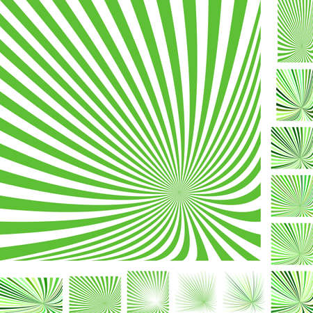 hypnose: Green and white vector ray burst design background set. Different color, gradient, screen, paper size versions. Illustration