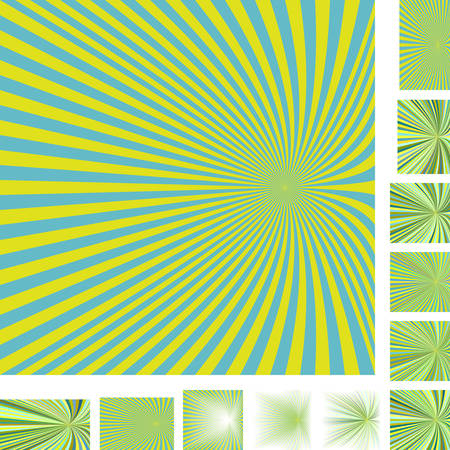 hypnose: Cyan and yellow vector ray burst design background set. Different color, gradient, screen, paper size versions. Illustration