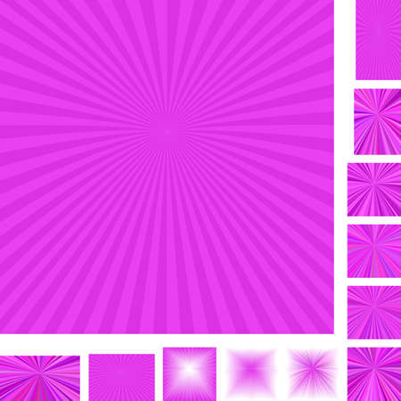 energy center: Magenta vector ray burst design background set. Different color, gradient, screen, paper size versions.