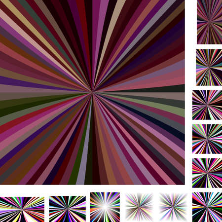 hypnose: Dark colorful vector ray burst design background set. Different color, screen, paper size versions.