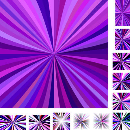 hypnose: Purple colorful vector ray burst design background set. Different color, gradient, screen, paper size versions Illustration