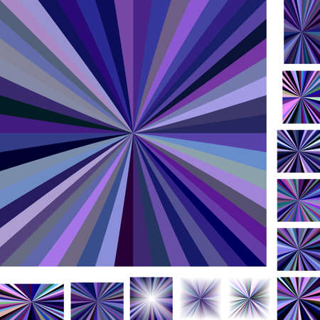 hypnose: Purple multicolored vector ray burst design background set. Different color, gradient, screen, paper size versions.
