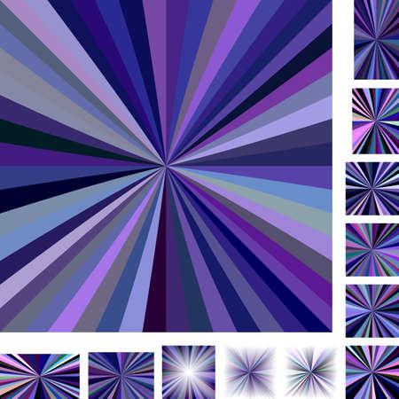 converge: Purple multicolored vector ray burst design background set. Different color, gradient, screen, paper size versions.