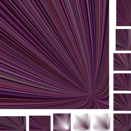 hypnose: Purple asymmetrical vector ray burst design background set. Different color, gradient, screen, paper size versions. Illustration