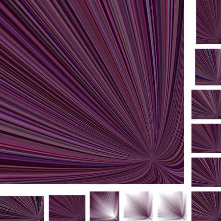 asymmetrical: Purple asymmetrical vector ray burst design background set. Different color, gradient, screen, paper size versions. Illustration