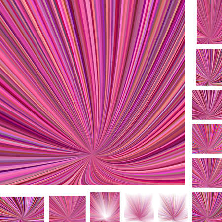 hypnose: Pink colorful vector ray burst design background set. Different color, gradient, screen, paper size versions.