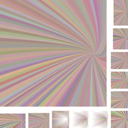 hypnose: Light colorful vector ray burst design background set. Different color, gradient, screen, paper size versions.