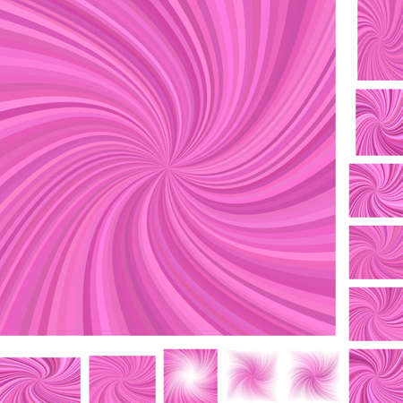 curl whirlpool: Pink vector spiral design background set. Different color,  paper size versions.