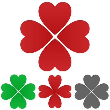 cloverleaf: Cloverleaf logo vector. Cloverleaf icon symbol design template set for heart - luck - fortune - happiness - clover leaf - shamrock - health - wellness - medical concepts.