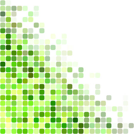 Green color square mosaic vector background design Illustration