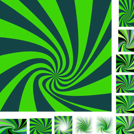 rotated: Green vector spiral design background set. Different color, gradient, screen, paper size versions. Stock Photo