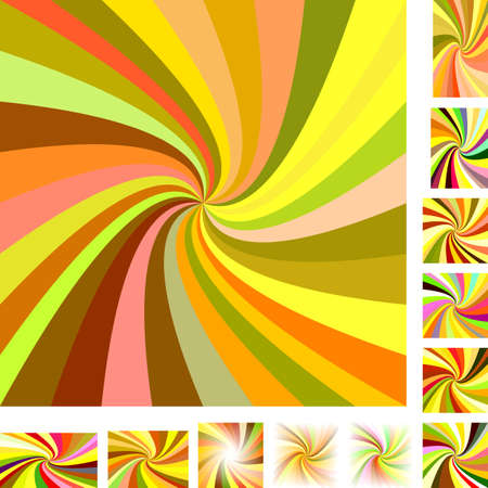 curl whirlpool: Colorful vector spiral design background set. Different color, gradient, screen, paper size versions.
