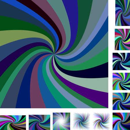 hypnose: Dark vector spiral design background set. Different color, gradient, screen, paper size versions. Illustration