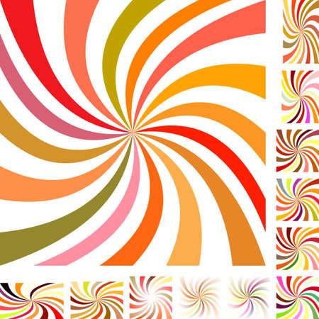 versions: Summer color vector spiral design background set. Different color, gradient, screen, paper size versions.