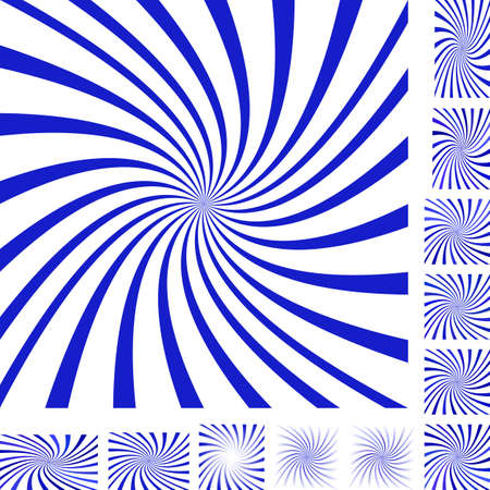 turmoil: Blue and white vector spiral design background set. Different color, gradient, screen, paper size versions. Illustration
